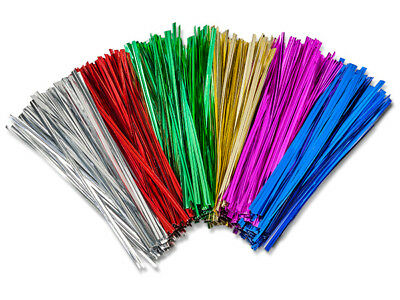 "50 Metallic Twist Ties 27 Gauge 6"" Wire Gold Green Fushia Pink Red Silver Blue"