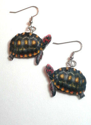 Red Footed Tortoise Earrings Handcrafted Plastic Made in USA