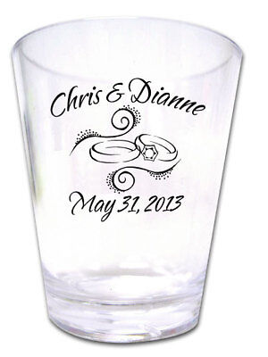 100 PERSONALIZED Rings Wedding Favors Plastic Shot Glasses NEW