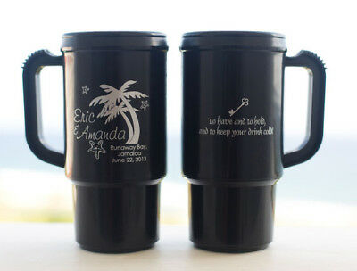 100 Custom Tropical Wedding Party Favor Travel Mugs NEW