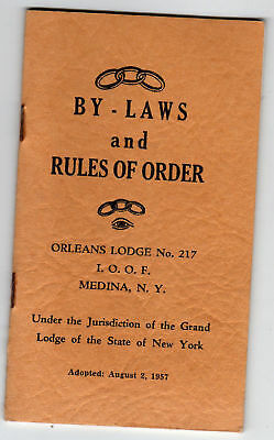 Oddfellows IOOF Orleans Lodge Medina NY 1957 By-Laws