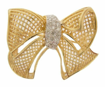 14K Solid Yellow Gold Diamond Bow Pin Brooch Broach