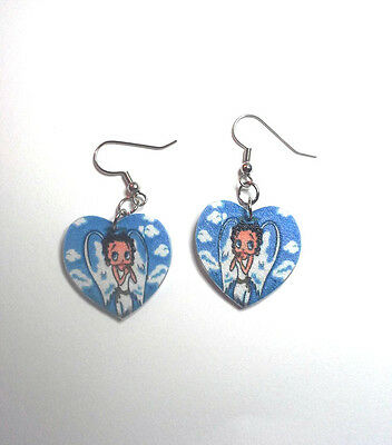 Betty Boop Blue Angels in Heart Earrings Handcrafted Plastic Made in USA