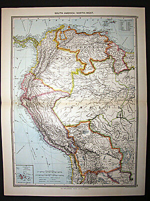 c1908 large atlas map South America North West