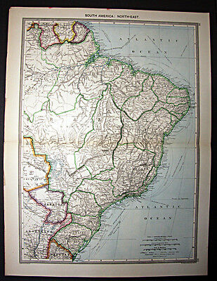 c1908 large atlas map South America North East