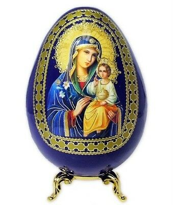 Wood Madonna and Child Icon Egg Gold Stand Rebirth Life
