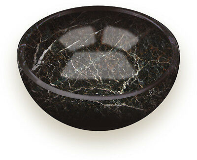 """5"""" BLACK MARBLE BOWL HAND CARVED Trinkets Coins Keys Soap Dish Gift Boxed NEW"""