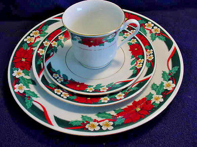 Tienshan Deck The Halls 4 Pc Place Settings Svc For 3+