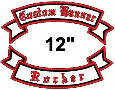 """Custom Embroidered Motorcycle Banner Rocker Patch 12"""""""