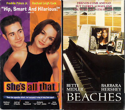 She's All That (VHS, 1999) & Beaches - 2 Romantic VHS Tapes