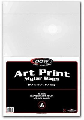 Pack of 10 BCW 2 mil Art Print Mylar Bags - 11.5 X 17.5 archival 11x17 sleeves
