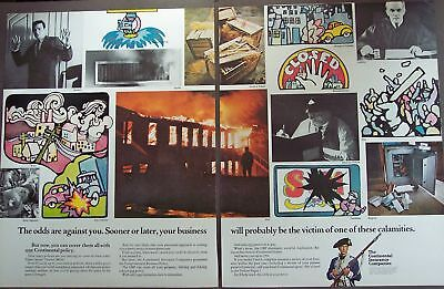 1966 Continental Insurance Co vintage 2pg art ad