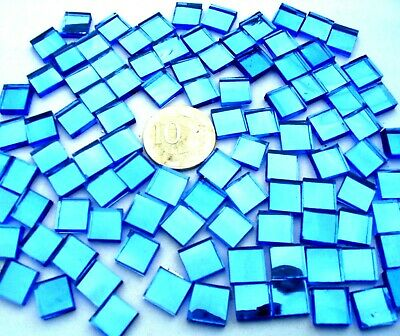50 BLUE Mosaic Mirror Tiles 1cm x 1cm Huge Craft Range