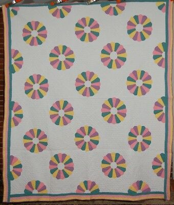 WELL QUILTED 30's Pastel Dresden Plate Antique Quilt!