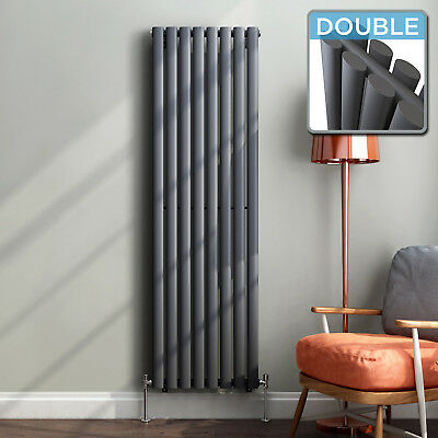 Vertical Designer Radiator Central Heating Double Oval Column Panel Anthracite