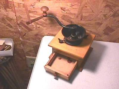 Antique Maple Lap Top Coffee Grinder Mill