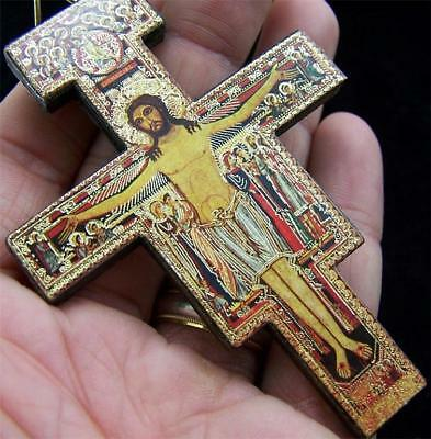 San Damiano Wood Pectoral Cross W/Gold Foil Highlights!