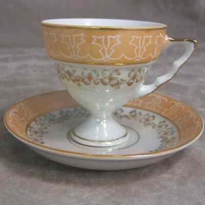 Japan Pedestal Foot Peach Lustre Clover Gold Cup Saucer