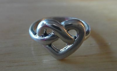 size 5 Sterling Silver twl 10x12mm Open Knot Heart Shaped 2.5mm band Ring