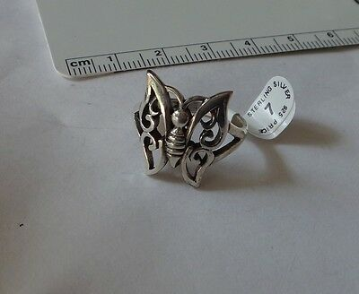 size 8 Sterling Silver 18x18mm Cutout Butterfly Sorority 2mm band Ring
