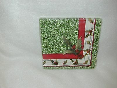 Anna Griffin ''holly' 'paper  Lunch 16 Napkins-New