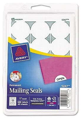 Avery - Print or Write Mailing Seals 1in dia White 600 per Pack  AVE05247 - New