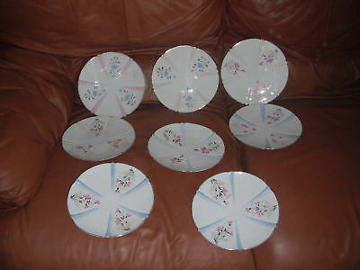8 Assorted Austrian Pink Blue Yellow Luncheon Plates