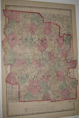 1871 Worcester County Map Ma Mass Original Old Atlas