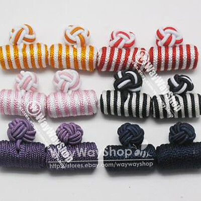 6 Pairs silk knot Cufflinks Cuff Links Cool Color Clothes Sewing Craft DIY