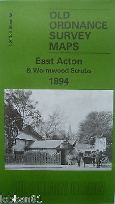 Old  Ordnance Survey Maps East Acton & Wormwood Scrubs London 1894 Godfrey Edt