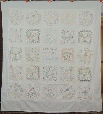 "Embroidered ""Album"" Quilt SUNFLOWERS Signed, Dated 1932"