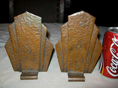Antique Gustav Stickley Arts Crafts Hammered Copper Bookends Mission Table Book