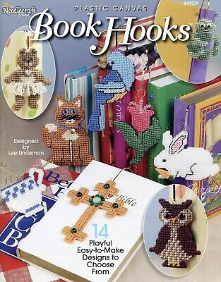 Book Hooks ~ 14 Bookmark Projects Motifs plastic canvas pattern booklet NEW