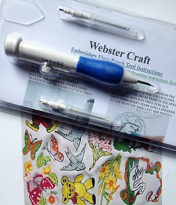 Punch Needle Embroidery Tool with 3 size needles & 2 threaders from Websters