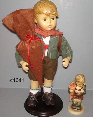 M I Hummel LITTLE SCHOLAR PORCELAIN DOLL & HUM FIGURE