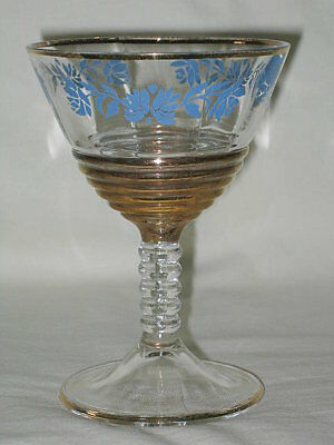 Federal Blue Rose Ripple & Ring Liquor Cocktail Glass