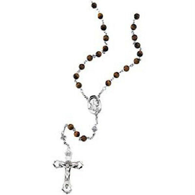Tiger Eye Beads Sterling Silver Rosary Jewelry Catholic