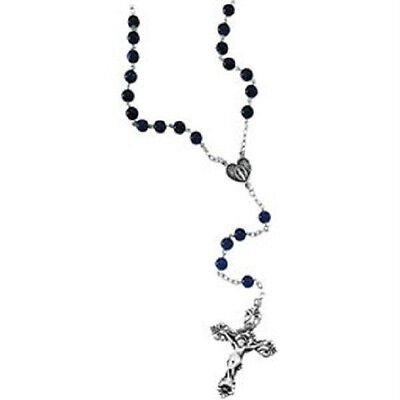 Sterling Silver Sodalite Beads Rosary Necklace Catholic