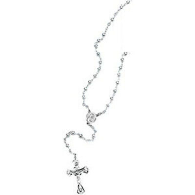 Sterling Silver Beads Rosary  Catholic Necklace Jewelry