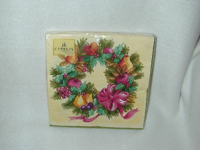Cypress ''holiday Wreath'' Lunch 20 Paper Napkins-New