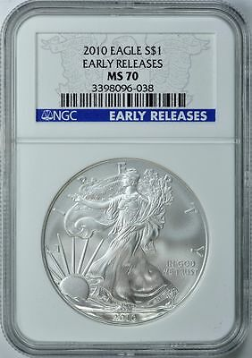 2010 American Silver Eagle S$1 Early Release Ngc Ms70