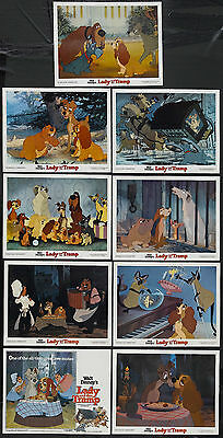 LADY AND THE TRAMP original glossy DISNEY lobby card set 11x14 movie posters