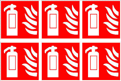 Fire Extinguisher Safety Sign Stickers/labels X 6