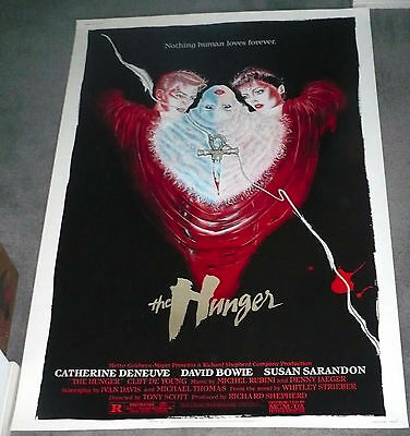 THE HUNGER orig large ROLLED 40x60 movie poster DAVID BOWIE/CATHERINE DENEUVE