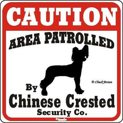 Chinese Crested Caution Dog Sign