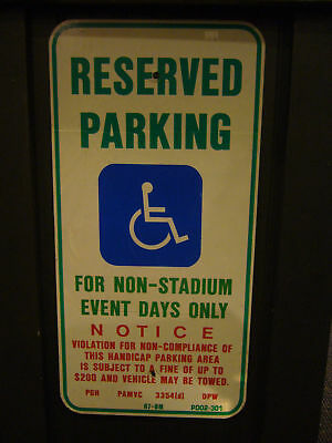 Three Rivers Stadium Pittsburgh Pirates Steelers Reserved Handicapped Park Sign