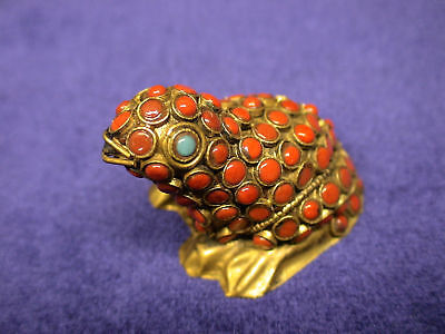 Vintage Faux Coral and Copper Frog