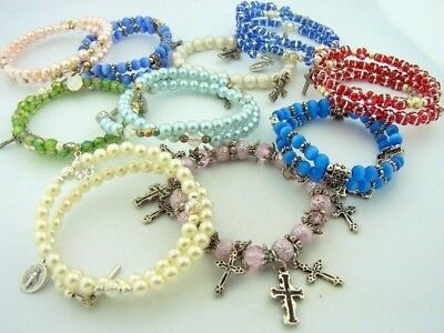 Religious Color Bracelet Lot Of 10 Cross Mary Pearls