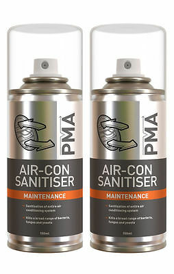 2 x 150ml CAN CAR AIR CON CONDITIONING CLEANER PMA PURIFIER VALET CLEANING BOMB