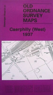 Old Ordnance Survey Maps Caerphilly West  Glamorgan 1937 Godfrey Edition New